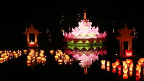 Loy Kratong Festival at Sukhothai Historical Park. Thailand stock video