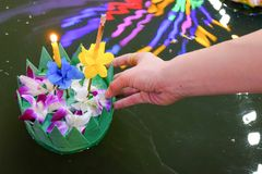 Loy Kratong festival,Bangkok Thailand festival. stock photos
