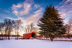 Loy's Station Covered Bridge, in Frederick County, Maryland. Stock Photo