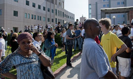 Loyal Fans. Fans gather in remembrance of Michael Jackson at the UCLA Medical Center, shocked by his death at age 50 Stock Photos