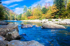 Loyal sock creek in the fall. The beautiful loyal sock creek flows thru the valley among the fall foliage stock image