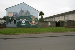 Loyalist mural supporting the Drumcree March, Belfast. Royalty Free Stock Photo