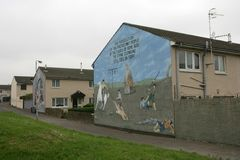Loyalist murals on Hopewell Crescent, Lower Shankill, Belfast Royalty Free Stock Image