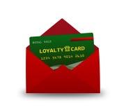 Loyalitätskarte im Umschlag über Weiß Stockfotografie