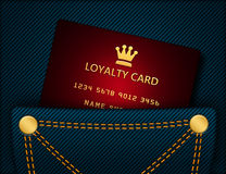 Loyalty card in blue jeans pocket Royalty Free Stock Images