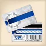 Loyalty card design with blue ribbon Stock Images