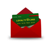 Loyalty card in envelope over white Stock Photography