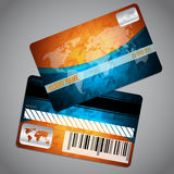 Loyalty card with world map and blue orange background Stock Photography
