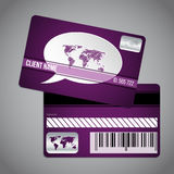 Loyalty card with world map and speech bubble on striped backgro Stock Images