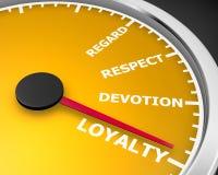 Loyalty. Customer Employee Trust Respect Speedometer 3d rendering Royalty Free Stock Photos