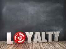 LOYALTY 3D Word with Target on Chalkboard Background. High Quality 3D Rendering vector illustration
