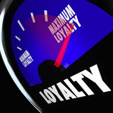 Loyalty Fuel Gauge Measure Customer Retention Level. Loyalty word on a fuel gauge to measure the amount or number of customers who are returning and remaining Stock Image