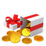 Loyalty program concept. Gift box and points coin Royalty Free Stock Image