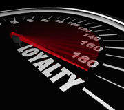 Loyalty Word Speedometer Measuring Return Repeat Customer stock illustration