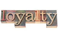 Loyalty word in wood type Stock Images