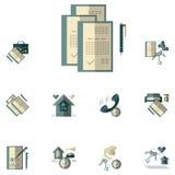 Loyer des icônes plates de couleur de propriété Photographie stock libre de droits