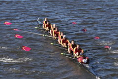 Loyola Academy Crew races in the Head of Charles Regatta Men`s Youth Eight Royalty Free Stock Photography