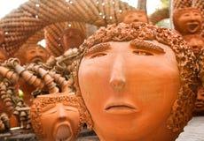 Loza de barro de la cara agujereada Imagen de archivo libre de regalías