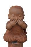 Loza de barro del monje del niño aislada en el fondo blanco imágenes de archivo libres de regalías