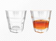 Loza realista del ejemplo de cristal del vector del whisky ilustración del vector