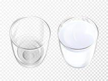 Loza realista del ejemplo del vector del vidrio de leche ilustración del vector