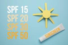 Lozione di Sunblock, protezione solare per pelle Protezione ultravioletta ed anti solarizzazione sulla spiaggia fotografie stock libere da diritti
