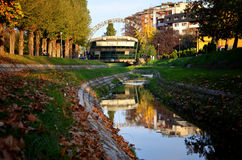 Loznica, Serbia. Reflection in the river, Serbia stock image
