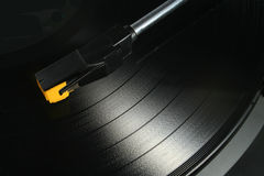 LP acetate record. A black LP acetate record Stock Photo
