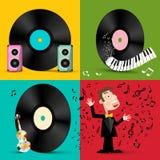 LP - Disketter för vinylrekord med högtalare, pianotangentbordet, fiolen och sångaren royaltyfri illustrationer