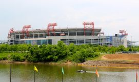 LP Field Home Of The Tennessee Titans. LP Field, which seats approximately 69,143 fans, is a state-of-the-art, open-air, natural grass facility, which the Titans royalty free stock photo
