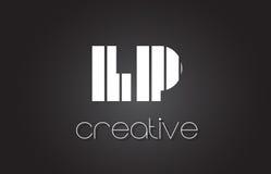 LP L lettre Logo Design With White de P et lignes noires Image stock
