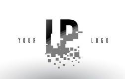 LP L logo de lettre de pixel de P avec les places noires brisées par Digital Photo libre de droits