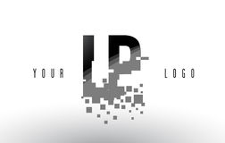 LP L P Pixel Letter Logo with Digital Shattered Black Squares. Creative Letters Vector Illustration Royalty Free Stock Photo