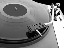 LP player. With vinyl close-up stock photo