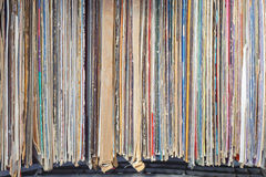LP records. Stacked second hand vinyl records at flea market Royalty Free Stock Photography
