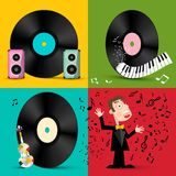 LP - Vinyl Record Discs with Speakers, Piano Keyboard, Violin and Singer. royalty free illustration