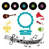 LP - Vinyl Record with Gramophone and Musical Symbols Royalty Free Stock Images