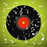LP. Vinyl Record with Notes on Green Background. Vector Royalty Free Illustration