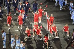 LParalympics Rio 2016. Rio de Janeiro, Brazil - september 07, 2016: opening ceremony of the Paralympics Rio 2016 at Maracana Stadium stock image