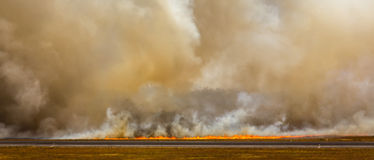 Löpeldflammor och rök vrålar uppåt ut ur kontroll Arkivbilder