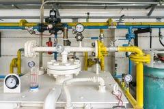 LPG在LPG加油站的气体移植管子和阀门  图库摄影