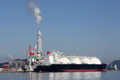 LPG cargo ship. Docked in the port Royalty Free Stock Photo