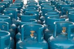 LPG Gas Bottle Stack Ready For Sell, Filling Lpg Gas Bottle Stock Image