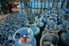 LPG GAS CYLINDERS Stock Photo