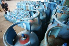 LPG GAS CYLINDERS Royalty Free Stock Photography
