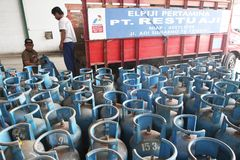 Lpg gas cylinders Royalty Free Stock Photos