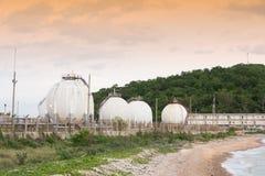 LPG gas industrial storage sphere tanks Stock Photo