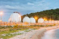 LPG gas industrial storage sphere tanks Stock Photography