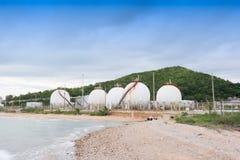 LPG gas industrial storage sphere tanks Royalty Free Stock Photo