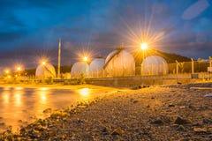 LPG gas industrial storage sphere tanks Royalty Free Stock Photography